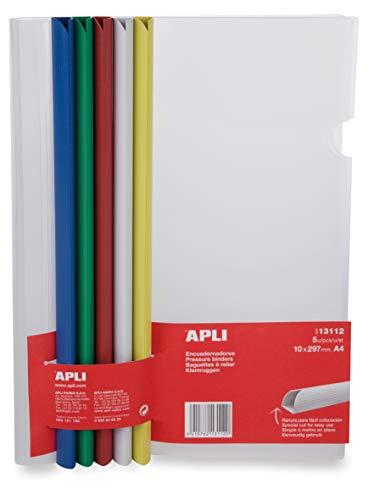 APLI 13112-Encuadernadores deslizantes con funda colores surtidos 5 u.