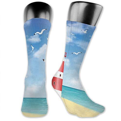 Moruolin Socks Cute Funny For Summer,Realistic Illustration Lighthouse On Calm Seashore Flying Seagulls Ocean Scenery,Running Outdoor Recreation,Trainer Socks for Men and Women