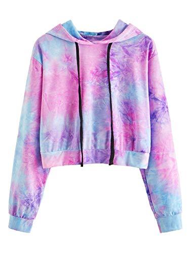 MAKEMECHIC Women's Long Sleeve Tie Dye Print Sweatshirt Crop Top Hoodies Blue XS
