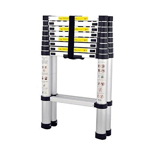 Yongenee Escaleras 2,6 M + 2,6 M de aleación de Aluminio de la aviación Ingeniería telescópica hogar ático Doble Espiga de Escalera Herramientas industriales