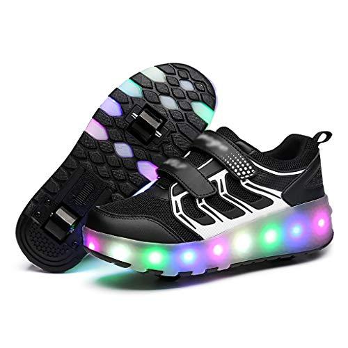 GEXIN Patines LED, Zapatillas de Deporte con Ruedas, Malla Transpirable, Velcro, Suelas TPR (2 Ruedas)