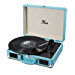 Vinyl Stereo Blue Record Player 3 Speed Portable Turntable Suitcase Built in 2 Speakers RCA Line Out AUX Headphone Jack PC Recorder (Renewed)