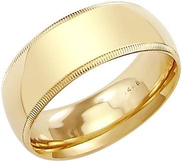 14k Solid Yellow Gold Milgrain Comfort Wedding Ring Band 8MM - Size 6
