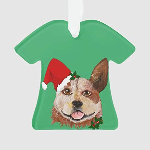 onepicebest Christmas Ornament, Christmas Big Eyes Green Cattle Dog Santa Hat Ornament Family Keepsake Tree Hanging Home Party Decorations Xmas Gifts, T-Shirt Shape