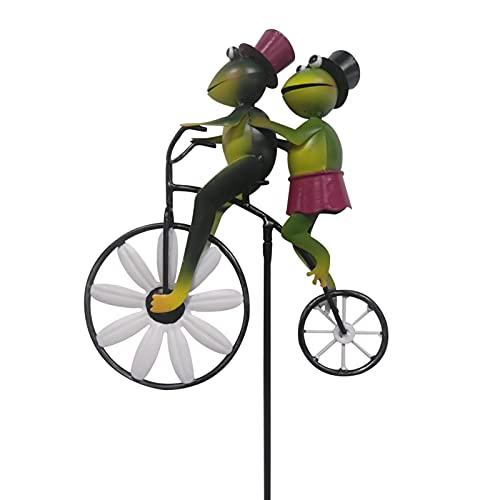 3D Tier Windmühle, Vintage Fahrrad Metall Wind Spinner, Fahrrad Frösche Metall Wind Spinner, Außenstatue Windmühle Garten Handwerk Ornament für Outdoor Rasen Balkon Garten Deko