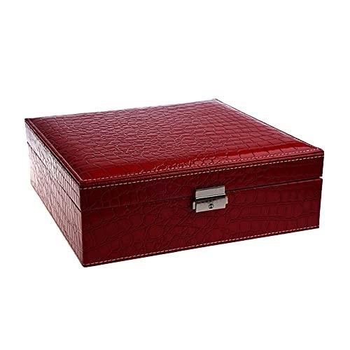 QAZX Caja de Joyas Mujer Portátil Viajes Joyería Organizador Pendiente/Anillo/Collar/Reloj Caja De Contenedores De Almacenamiento Caja (Color : Red)