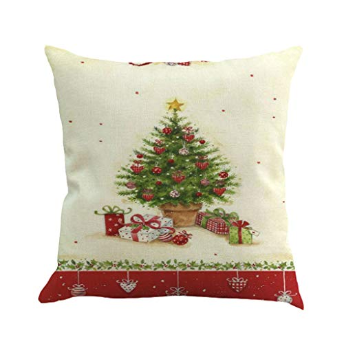 I613 Linen Throw Pillow Cover Merry Christmas Cushion Cover Square Pillowcases Home Decor Best Gift