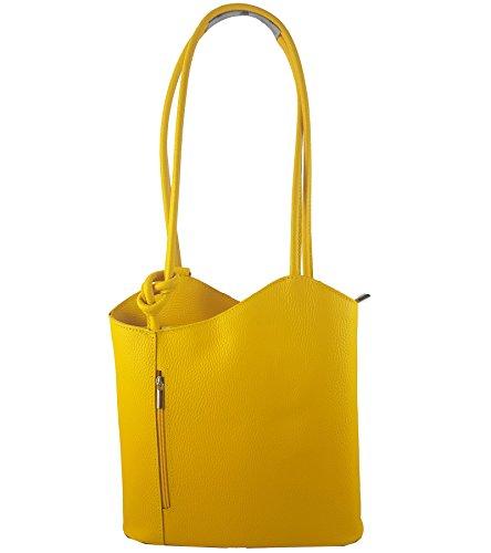 Freyday 2 in 1 Handtasche-Rucksack Henkeltasche aus Echtleder in versch. Designs (Glattleder Gelb)