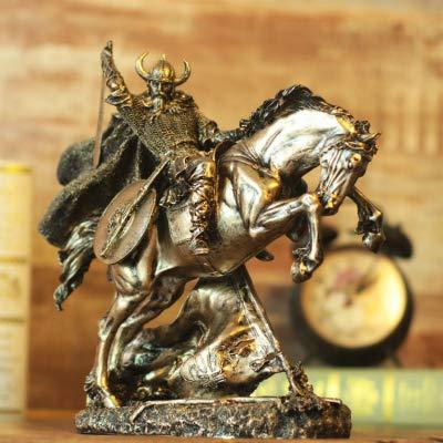 feiren Escultura vintage de armadura de guerrero escultura antigua esparta romana medieval creatividad resina caballero estatua decoración del hogar barra estatua (color: 02)