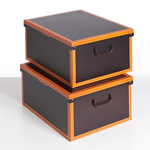 SET DE DOS Cajas de almacenamiento en cartón, tamaño grande, 2 unidades, modelo CUERO