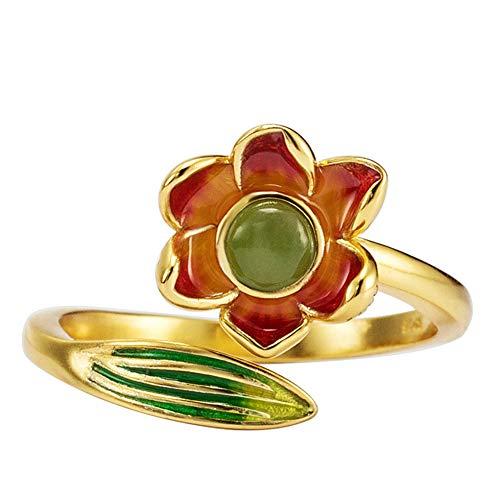 Anillos Abiertos De Plata De Ley 925 Con Flor De Jade Verde Para Mujer, Joyería De Oro De 14 K, Accesorios Originales Hechos A Mano Con Esmalte Vintage Femenino