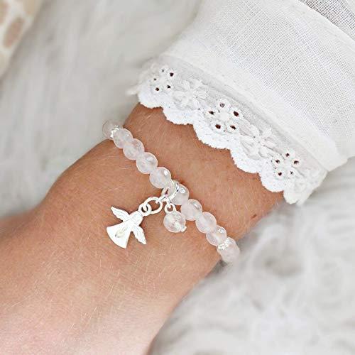 Rosenquarz-Armband Damen mit Schutzengel Silber, perfektes Geschenk für Frauen und Mädchen, Naturstein
