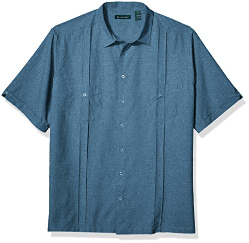 IZOD Men's Big & Tall Big and Tall Button Down Long Sleeve Stretch Performance Solid Shirt, ESTATE BLUE, Large