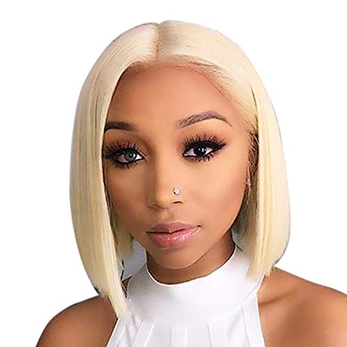 Beauty On Line 13x4 Blonde Lace Front Wigs Brazilian Straight Short Bob Human Hair Wigs For Women 150% Density Transparent Lace Front Wig(10 inch, 613-Bob)