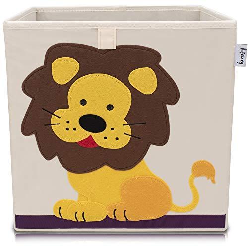 Lifeney Kinder Aufbewahrungsbox I praktische Aufbewahrungsbox für jedes Kinderzimmer I Kinder Spielkiste I Niedliche Spielzeugbox I Korb zur Aufbewahrung von Kinder Spielsachen (Löwe hell)