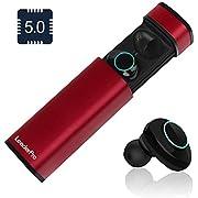 LeaderPro Ecouteur Bluetooth Oreillette Bluetooth sans Fil TWS 5.0 CVC 6.0 Mini, Appariement Automatique, Tactile, HiFi Stéréo/Mono, Spécialement pour Musique/Sport, IPX5, pour Android/iPhone, Rouge