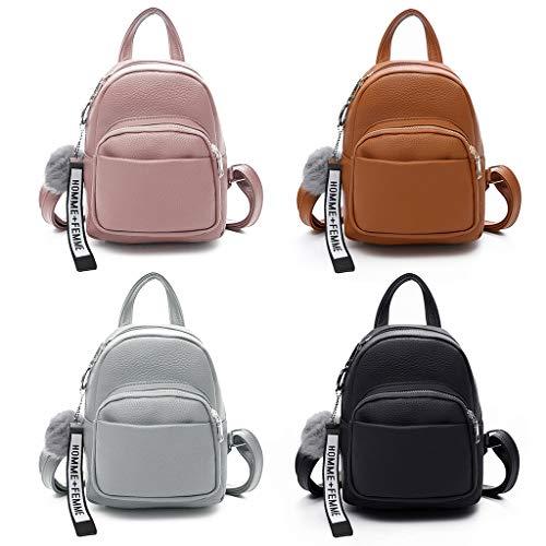 Mini-Rucksäcke aus PU-Leder für Damen , süßer Reiserucksack mit Ballanhänger - Schultertasche, Handtasche, Schulranzen Schwarz