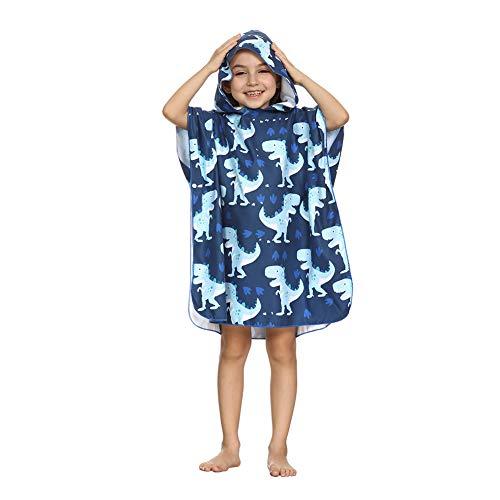 ED-Lumos Asciugamano da Bagno con Cappuccio per Accappatoio in Microfibra Bimbo Poncho da Spiaggia per Bambina 4-7 Anni Verde Dinosauro