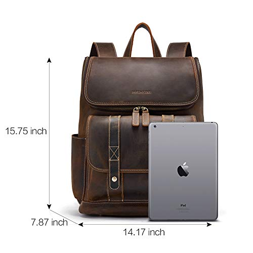 BOSTANTEN Leather Backpack 15.6 inch Laptop Backpack Vintage Travel Office Bag Large Capacity School Shoulder Bag