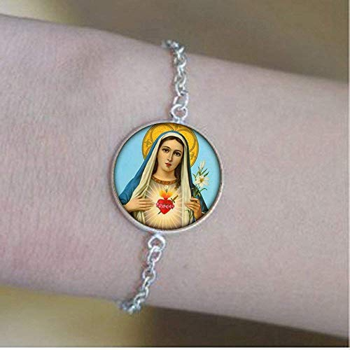 Maagd Maria Armband Christelijk Religieus Geloof Spirituele Katholieke Religie Sieraden Glas foto Sieraden