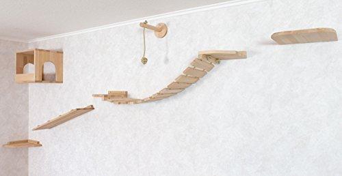 Katzen Wandpark, handgefertigte Tiermöbel / Luxusmöbel, Katzenmöbel in vielen Ausführungen, Kratzbaum / Katzenbaum für die Wand. Hier: Komplettpark Angebot, 6 Teilig (1P477hh)