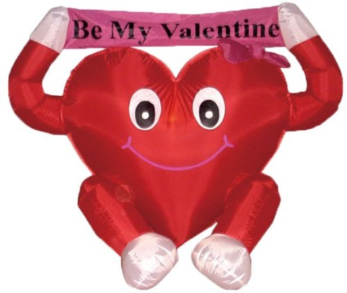 BZB Goods 4 Foot Valentine's Inflatable Sweet Heart LED Blow Up Lighted Decor Indoor Outdoor Holiday...