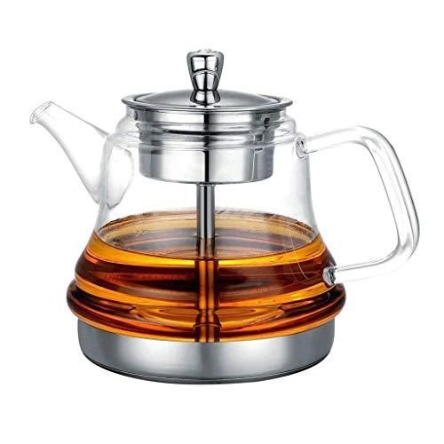 ZJZ De Vidrio Transparente con infusor para Estufa de té Suelta Tetera de Vidrio Transparente Segura Superior con Tazas de té, Cepillo |Juego de té Perfecto para Regalo