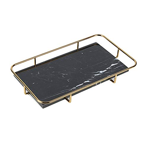 MDFQL Dekoratives Marmortablett, Schmuckschale Handmade Catchall Eitelkeitsablage mit polierten Goldmetallgriffen, für Kommode, Couchtisch-Dekor-Tablett, Kerzenhalter-Tablett,Schwarz,S