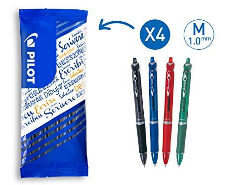 PILOT Acroball BeGreen, Kugelschreiber, 4er Set (Blau, Rot, Grün, Schwarz), aus recyceltem Material