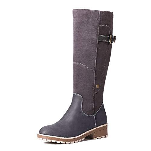 Camfosy Botas para Mujer Botas de Invierno hasta la Rodilla Botas Altas con Forro de Piel Zapatos cálidos de tacón bajo Botas largas para la Nieve Calzado Informal Retro Negro Marrón Gris