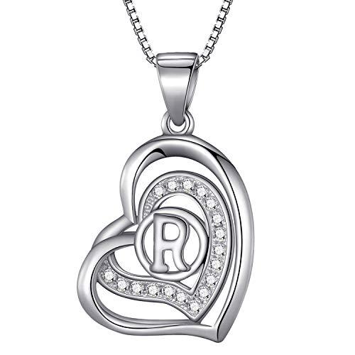 Morella® Damen Halskette Herz Buchstabe R 925 Silber rhodiniert mit Zirkoniasteinen weiß 46 cm