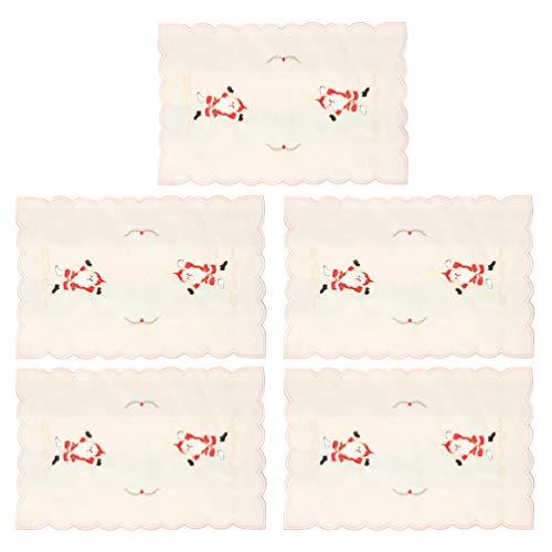 Amosfun 5 piezas manteles navideños mantel de vacaciones para la decoración de la mesa de comedor (santa claus)