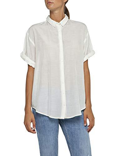 Replay Damen W2212 .000.83038 Bluse, Weiß (Off White 11), Large (Herstellergröße: L)