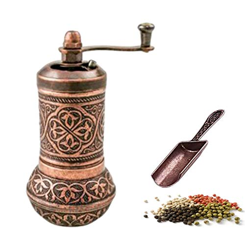 Küchengeräte Copper Design Pepper & Salt Grinder - Turkish Coffee Mill - with Antique Looking Mini Shovel - Salt Shaker - Zinc Alloy Casting Best Carving Metal - Adjustable Coarseness