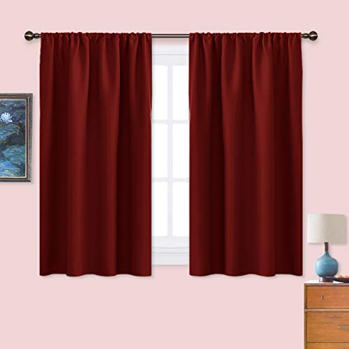 Nicetown Burgundy Curtains Blackout Drape Panels Lights Block Out Window Treatment Curtain Sets For Home Decoration Set Of 2 Panels 42 By 45 Inch Wantitall
