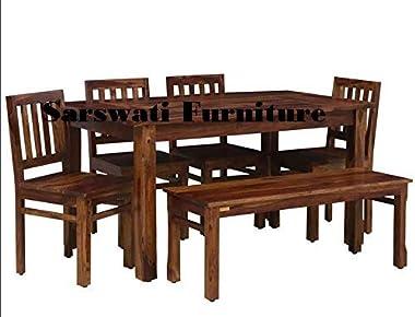 Sarswati Furniture Sheesham Wood Dining Table 6 Seater | Wooden Dinning Room Furniture | 4 Chair & 2 Seater Bench | 1 Tab