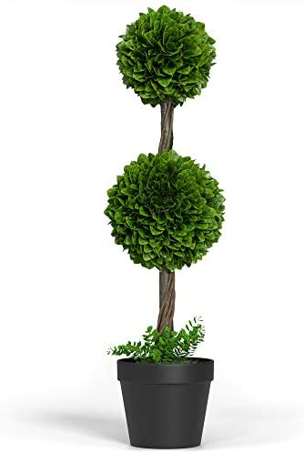 Barnyard Designs Artificial Boxwood Topiary Ball Tree Front Porch Home Decor Faux Fake Plant product image