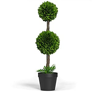"""Silk Flower Arrangements Barnyard Designs 3ft (36"""") Artificial Boxwood Topiary Ball Tree, Front Porch Home Decor, Faux Fake Plant Decoration, (Single Tree)"""