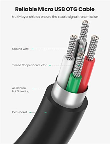 UGREEN OTG Kabel USB 2.0 auf Micro USB OTG Adapter für Samsung S7/S7edge S6,S6 Edge, Note 2, Nexus 7, Android oder Windows Handy/Tablet mit OTG, 12 cm(Schwarz)