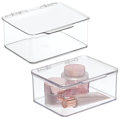mDesign 2er-Set Kosmetik Organizer mit Klappdeckel – praktische Aufbewahrungsbox für Lippenstift, Nagellack, Lidschatten etc. – Schminkaufbewahrung für den Waschtisch – durchsichtig