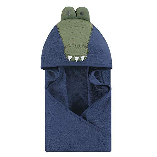 Hudson Baby Unisex Baby Cotton Animal Face Hooded Towel, Alligator, One Size