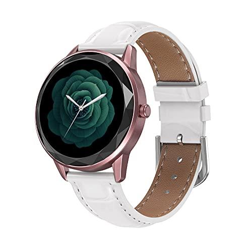 Nuevo Reloj Inteligente HDT7 para Mujer, Pulsera 1,09, círculo Completo, dial Personalizado, podómetro, frecuencia cardíaca, monitorización de la presión Arterial Pinkleatherbelt