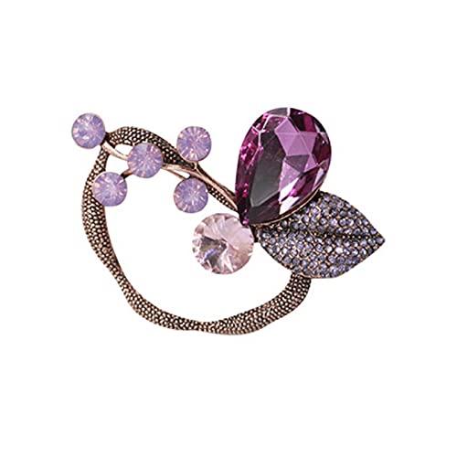 Overvloedi Broche de hoja de moda vintage púrpura flor de cristal de los hombres broche broche de la planta joyería 925sterlingsilver
