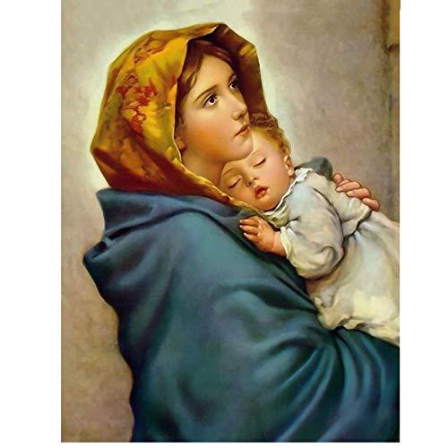 Taladro cuadrado/redondo completo 5D Diy Diamante Pintura Virgen María y niño Imagen 3D Diamante Bordado Diamante de imitación Mosaico Obra de arte,40x55cm