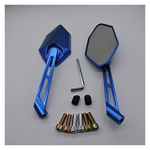 Espejos Moto Par retrovisor Trasero CNC de 6 mm 8 mm 10 mm Espejos para Scooter Motocicleta Bicicleta (Color : Blue)
