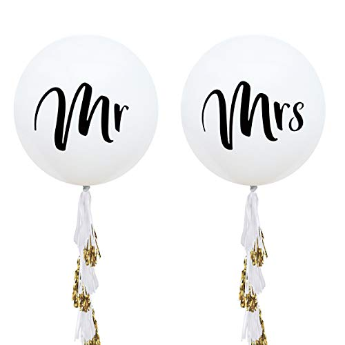 NICROLANDEE 36 Inch Giant Wedding Balloons Mr. & Mrs. White balloons with Two Paper Tassel Garlands for Outdoor Or Indoor Engagement Party Decorations Bachelorette Party Decorations