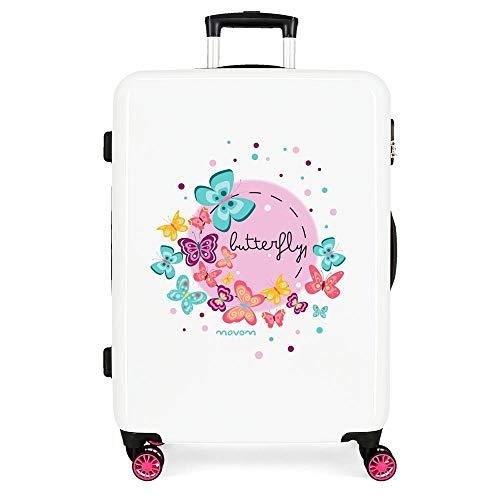 Movom Happy Time Medium Multi-coloured Suitcase 48 x 68 x 26 cm Rigid ABS Side Combination Closure 70L 2.6 kg 4 Double Wheels