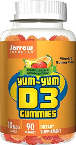 Jarrow Formulas Yum-Yum D3 Gummies, for Immune and Bone Support, 400IU, 90 Chews (Pack of 2)
