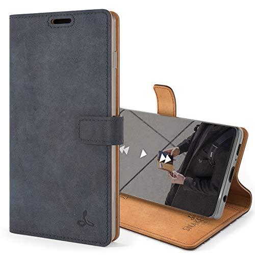 Snakehive S10 Schutzhülle/Klapphülle echt Lederhülle mit Standfunktion, Handmade in Europa für Samsung Galaxy S10 (Blau)