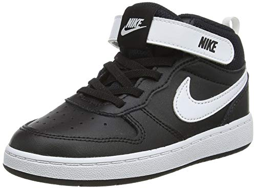 Nike Jungen Unisex Kinder Court Borough Mid 2 (TDV) Sneaker, Black/White, 22 EU